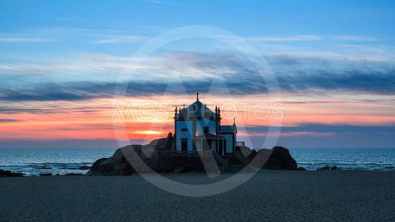 Chapel Senhor da Pedra at sunset, Miramar Beach in Porto,...