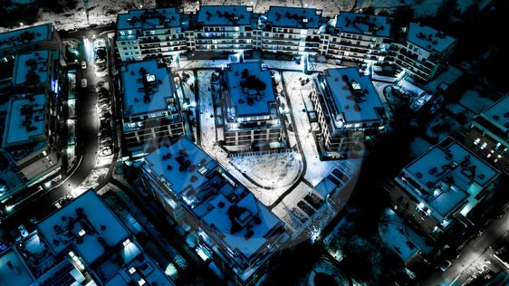 Aerial view of city at night.Residential Area.
