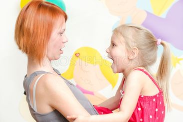 Little girl shouting at her mother