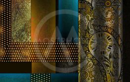 floral design element on dark  background