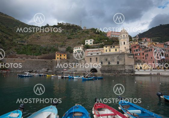 Fishing port with boats at the Village of Vernazza...
