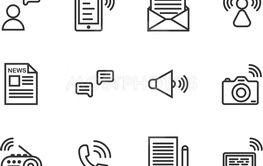 Communication outline icon set
