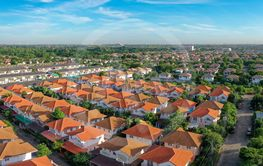high angle view of home village in bangkok thailand