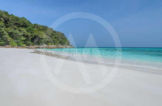 White sand beach and crystal sea water of Tachai Island,...