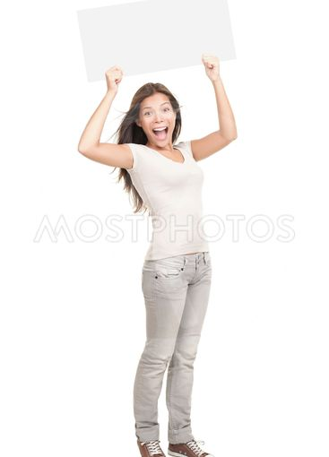 Woman holding white sign cheering