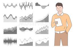 Statistics and Information Monochrome Charts Set
