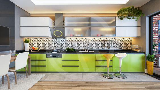 green color kitchen design decor idea
