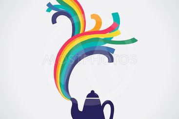 Rainbow flowing from kettle