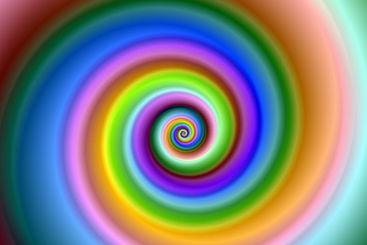 Bright colorful fractal swirl image.