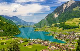 Village near Lake Lungern, Lungerersee, Obwalden,...