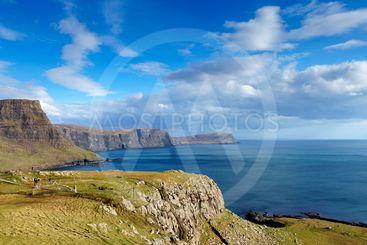 High cliff near Neist Point, Isle of Skye, Scotland.