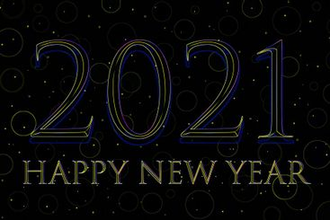 Happy New Year 2021 text design in neon style