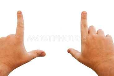 Male Hands Framing with Clipping Path
