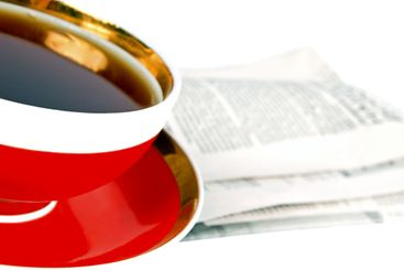 A cup of tea and a newspaper