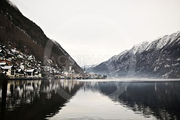 View from height on Hallstatt town between the mountains....