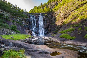 Skjervsfossen waterfall in Western Norway