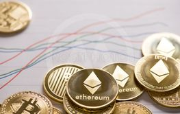 Cryptocurrency golden Bitcoin,Litecoin ,Ethereum coin  on...