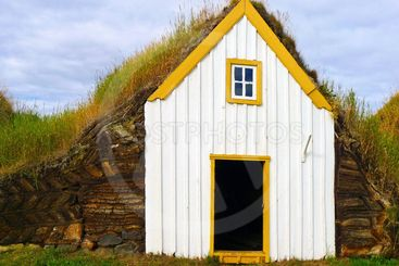 Traditional Iceland turf roof house