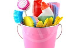 Detergents and cleaning products in bucket isolated on...