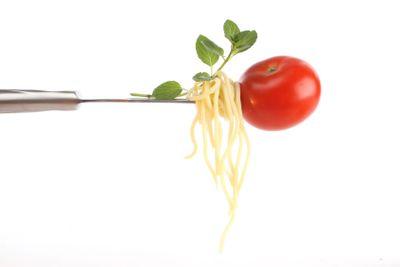 Italian food on a fork