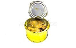 Open tin can on a white background.