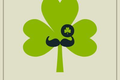 St Patricks day mustached shamrock