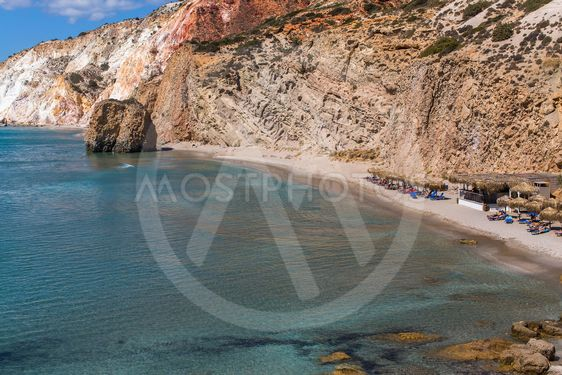 Sea beach in Milos island, Greece, Aegean sea.