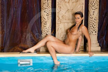 naked girl in the pool