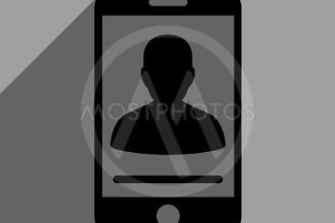 Mobile Contact Flat Square Icon With Long Shadow