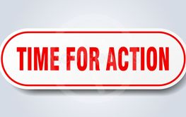 time for action sign. time for action rounded red...