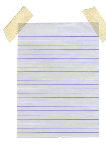 Lined paper stuck with masking tape isolated white...