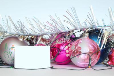 Arrangement of Christmas tree decorations