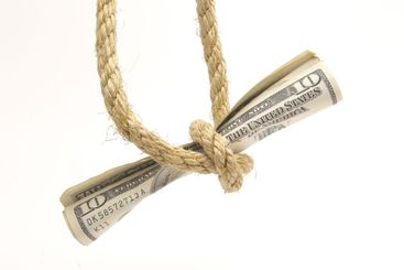 money tied up with rope