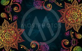 Indigo Vintage background with Indian Ornament
