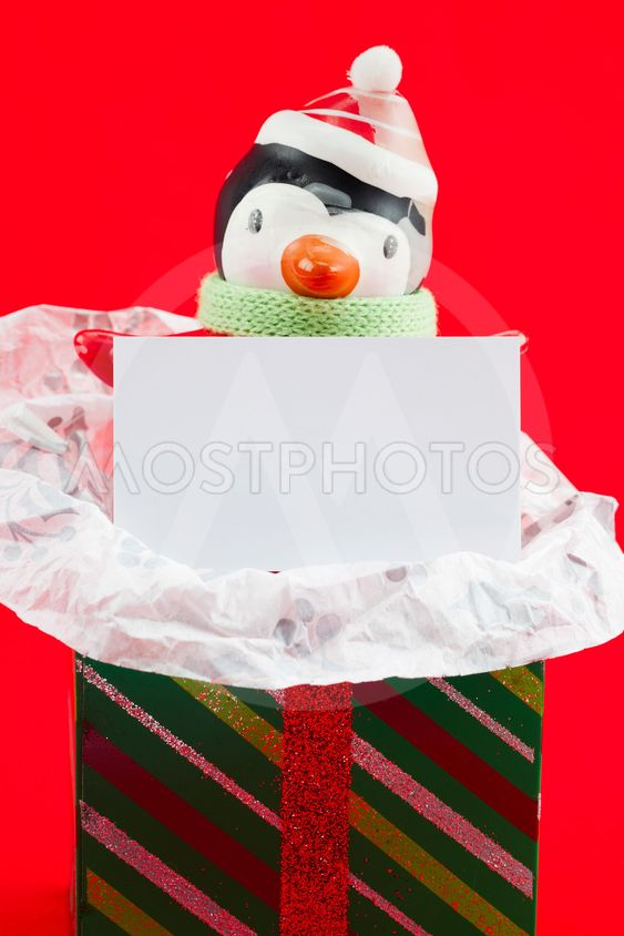 close up image of snowman with blank placard and...