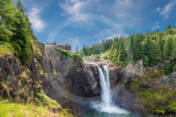 Snoqualmie Falls Under Summer Sky