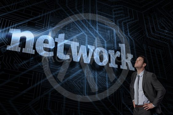 Network against futuristic black and blue background