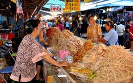 Nakhon, Pathom, Thailand: Food Vendor at Temple Marketplace