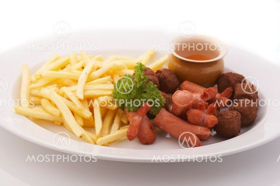 French fries and meatballs