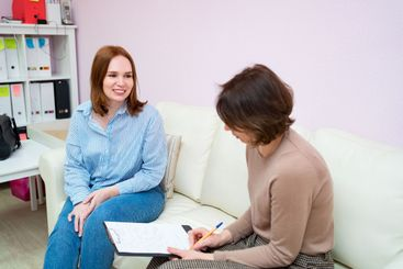 woman in the psychologist office for counseling.