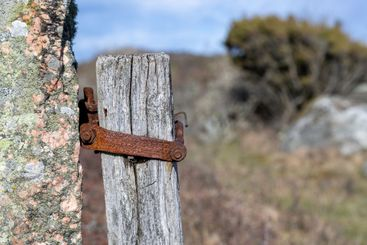 Old rusty gate post