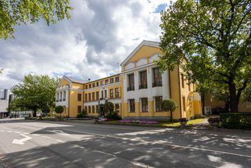 MIKKELI, FINLAND - Mikkeli town hall in summer day