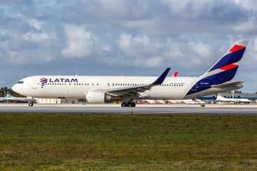 LATAM Boeing 767-300ER airplane Miami airport