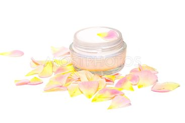 Cream Cosmetic Skin Care Beauty Organic with rose-leaf...