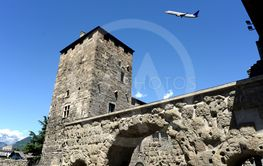 Flying over the ancient Roman and medieval walls of the...