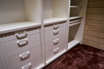 Luxury wardrobes in the dressing room in modern style