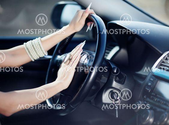 Girl in her car
