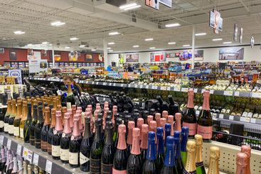 An overview of a Binny's Beverage Depot retail liquor store