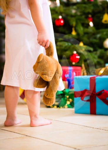 Girl with present and teddy on Christmas day
