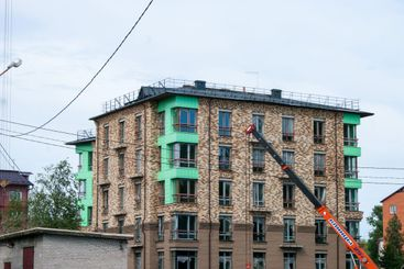 Provincial poor city. The construction of a new brick...